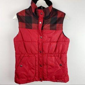 Eddie Bauer plaid puffer vest size small